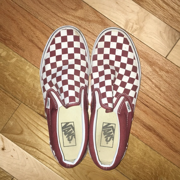 Vans Shoes | Maroon Checkered Slip On